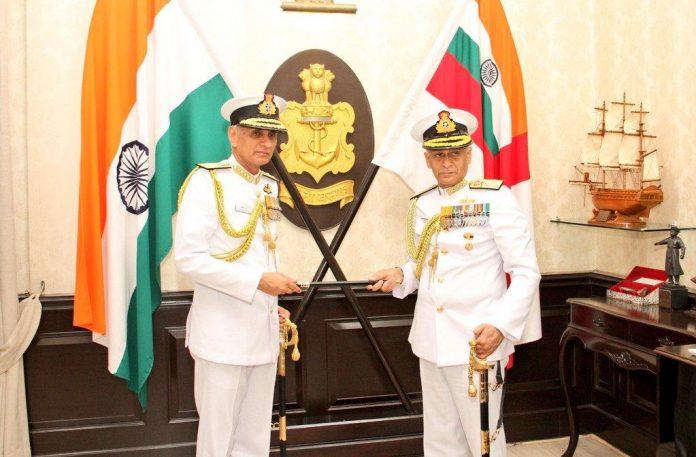 Admiral Karambir Singh with former Navy chief Sunil Lanba