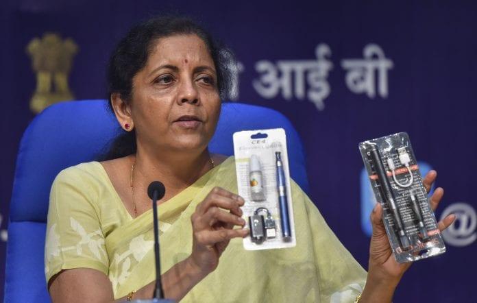 e-cigarettes ban, Finance minister Nirmala Sitharam, e-hookah