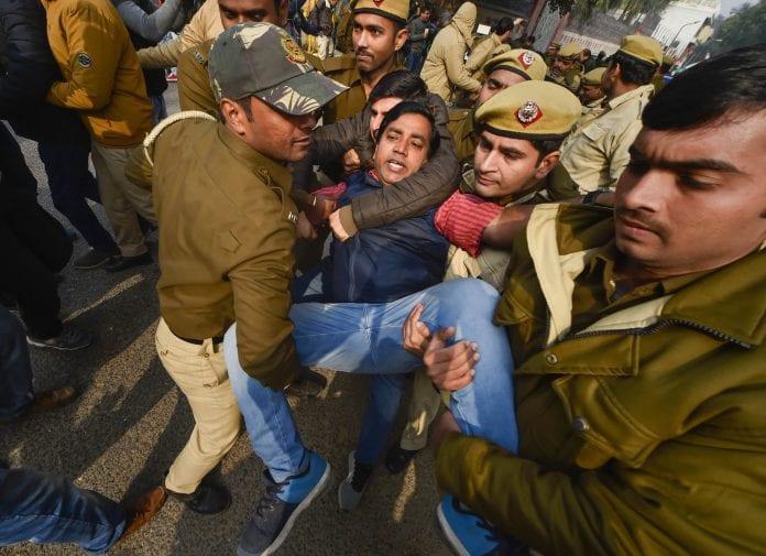 youth Congress protest, UP Bhawan, Uttar Pradesh, manhandling, Priyanka Gandhi Vadra, police, detain, protesters