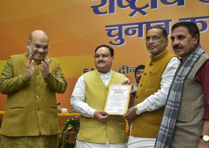 JP Nadda, BJP national president, Amit Shah, BJP working president, Radha Mohan Singh