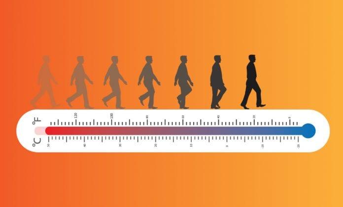 Human body temperature cooler hotter
