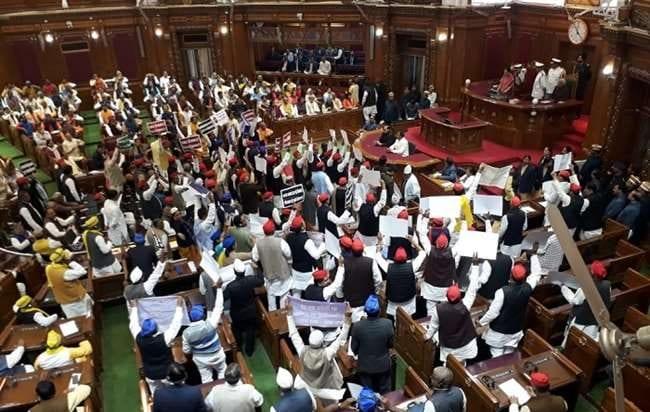 Uttar Pradesh, budget session, anti-government slogans, opposition, farmers distress, citizenship amendment act