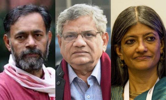 Yogendra Yadav, Sitaram Yechury, Jayati Ghosh